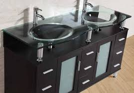 Glass Vanity Countertop 60 In Modern Furniture Bathroom Vanity Cabinet Double Sink Marble Top