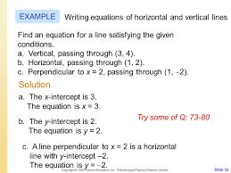 solution example writing equations of horizontal and vertical lines