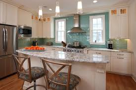 Kitchen Backsplash Blue Subway Glass Tile Backsplash With Canopy - Teal glass tile backsplash