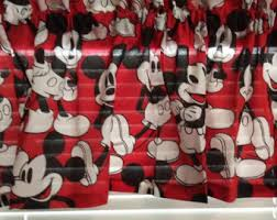Red Mickey Mouse Curtains Mickey Mouse Valance Etsy