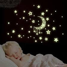 glow star moon wall stickers removable nursery decor mural baby