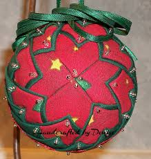 it is christmas time quilt looking fabric ornaments made by