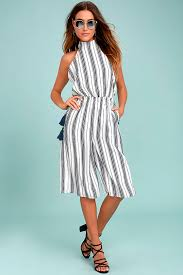 chic navy blue and white striped jumpsuit midi jumpsuit halter