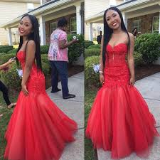 indian black girls prom dresses 2016 lace mermaid red long
