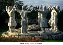 dancers statue barcelona spain sardana dancers statue on the hill stock photo