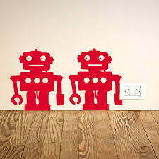 not robot wall sticker funky stickers red candy robots wall sticker set