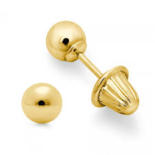 baby gold earrings 14k yellow gold baby stud earrings with bell backs