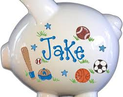 customized piggy bank baby sports piggy bank etsy
