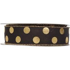 polka dot ribbon black and gold polka dot ribbon roll 25 yards