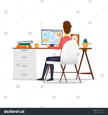 computer back man sitting desk working on computer stock vector 411844618