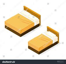 vector illustration large medium bed isometric bed isometric stock