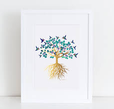 tree of life 8x10 gold effect with watercolor hummingbirds