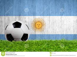 soccer ball on grass with argentina flag stock image image 38718539