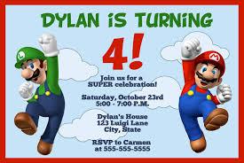 A Birthday Invitation Card Mario Birthday Invitations Kawaiitheo Com