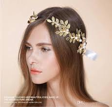 gold leaf headband new fashionable handmade gold leaf pearl hair decoration
