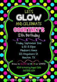 glow in the birthday party neon glow birthday party invitations kids birthday neon glow