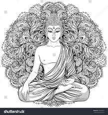 sitting buddha over ornate mandala round stock vector 426236467