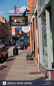 Galena Illinois Storefronts And Signs Along Historic Main Street In Galena