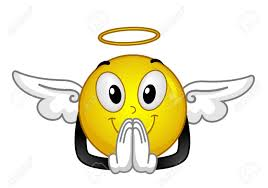 illustration of an smiley with a halo and wings praying stock