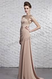 prom dresses online light brown beaded round neck sleeveless
