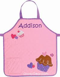 personalized childrens quilted apron cupcake