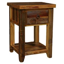 Nightstand With Shelf Barnwood Leg 1 Drawer Nightstand With Shelf