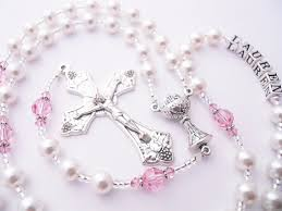 custom rosary white and pink swarovski pearl communion rosary for a