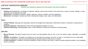 Carpenter Job Description Resume by Construction Carpenter Knowledge U0026 Skills