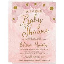 pink and gold baby shower invitations baby shower invitations blush pink gold flowers it s a girl