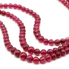 pendant necklace bead images Triple strand ruby bead necklace 309 86 carats not dyed once jpg
