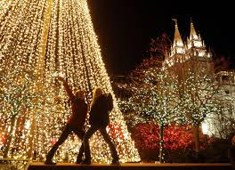 lights on at temple square signaling beginning of christmas
