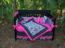 Pink And Black Crib Bedding Sets Pink Black Zebra Polka Dots Crib Bedding Set