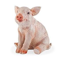 poppy the realistic resin sitting pig garden ornament figurine