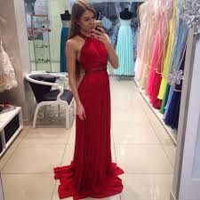 red halter jewel neck chiffon prom dress formal gown evening