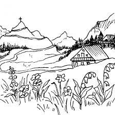 Coloriage Paysage de montagne dessin gratuit à imprimer