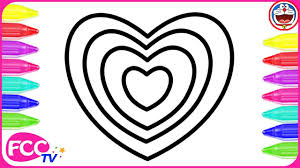 learn how to draw u0026 how to color rainbow heart for baby coloring