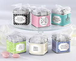 candy containers for favors personalized wedding favor square favor tin candy container by