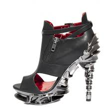 draco black vegan leather gothic high heel shoe with spinal column