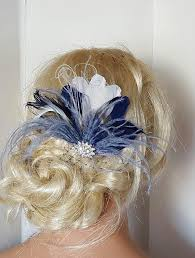 fascinators hair accessories navy blue hair fascinator feather accessories great gatsby