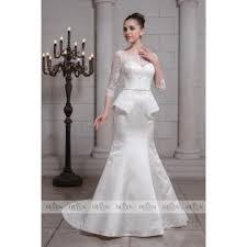 knightly bridal wedding dresses lace satin peplum sheath long