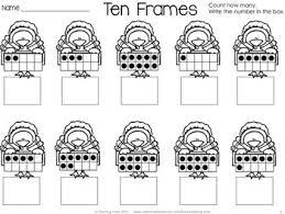 free thanksgiving turkey ten frames kindergarten math