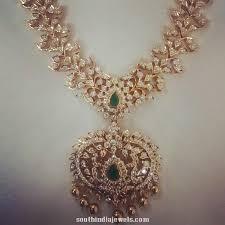 diamond long necklace images Latest diamond long necklace design south india jewels jpg