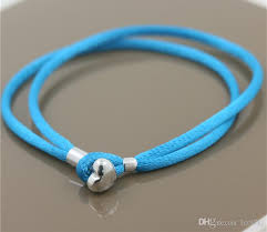 cord bracelet with charm images 2017 new sky blue fabric cord bracelet with sterling silver heart jpg