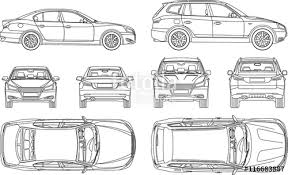 Vehicle Inspection Report Template Free by Car Sedan And Suv Line Draw Four All View Top Side Back Insurance