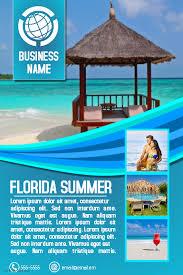 Travel agency or tourism destination flyer template aqua blue