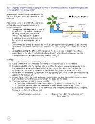Lab Bench Transpiration Edexcel Igcse Biology Experimental Method Notes