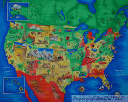World Map Fabric by Boneful Fabric Cotton Quilt Panel Block United States America Map