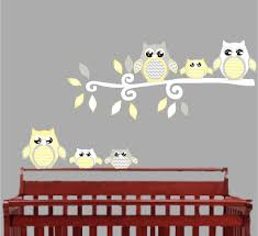 yellow owl wall decals owl stickers owl nursery wall decor