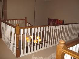 decor white wooden stair rails design ideas with ceiling lighting