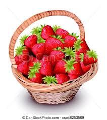 fruit in a basket strawberry fresh fruits in a basket vector illustration clip